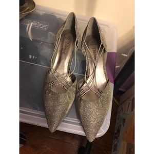 Silver metallic pointed toe shoes